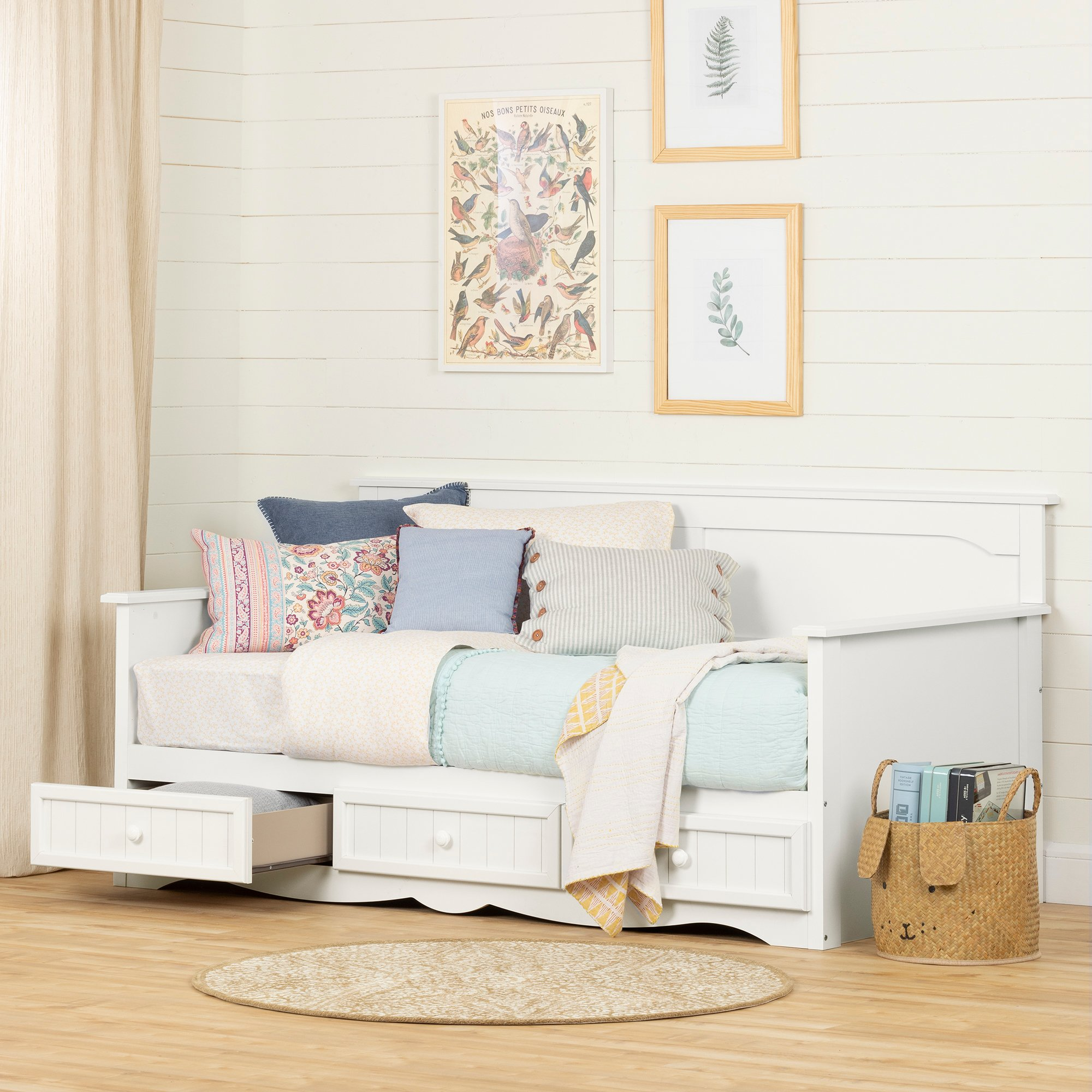 South Shore 11685 Savannah Daybed with Storage, Twin, Pure White