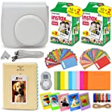 HeroFiber Fujifilm Instax Mini Instant Film (2 Twin Packs, 40 Total Pictures) + Fitted Case for Instax Mini 9 Instant Camera, Assorted Colorful Stickers/Frames, Photo Album + More