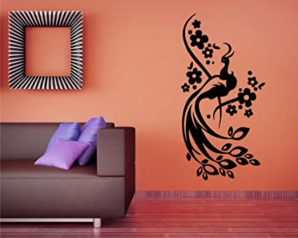 Buy Peacock With Flower Vine Black Wall Sticker Size55 99 Cm Online At Low Prices In India