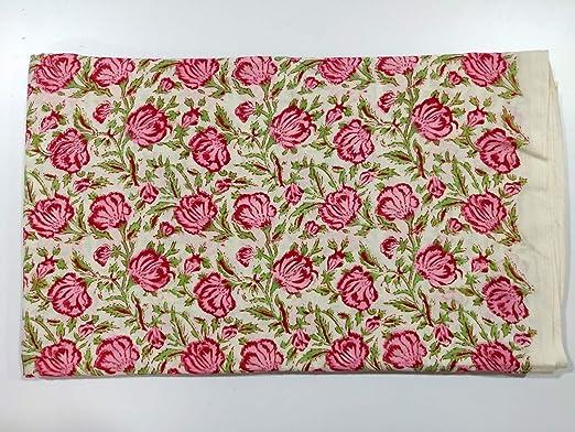 Indian Hand Block Print Cotton Fabric Dressmaking Sewing By Yard Bird Print Art