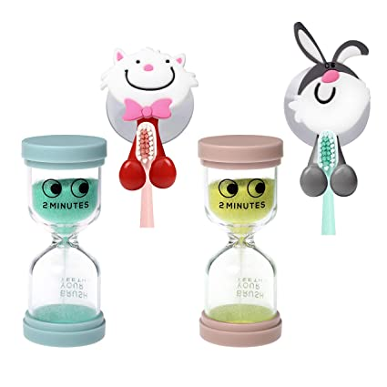 J Jhouselifestyle 2 Minute Sand Timer for Kids Teeth Brushing with Cute  Toothbrush Holder,Safety and Durable 2 Minute Timer for Brushing  Teeth,Tooth