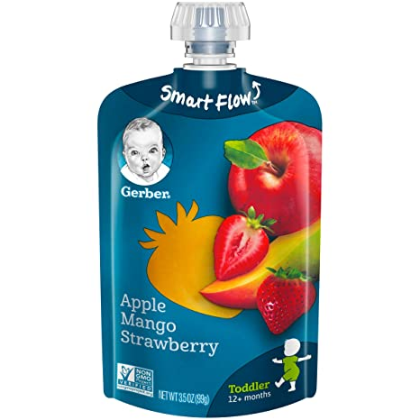 Gerber Purees Apple Mango Strawberry Toddler Pouch (Pack of 12)
