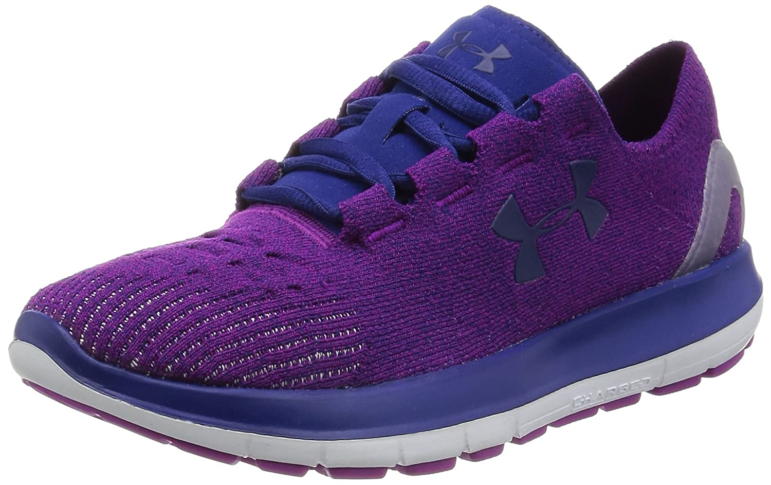 Under Armour Women's Speedform Slingride Tri Running Shoe, Overcast Gray/Glacier Gray/Marlin Blue B018EZUCQ4 7.5 B(M) US|Purple Lights/ White/ Caspian