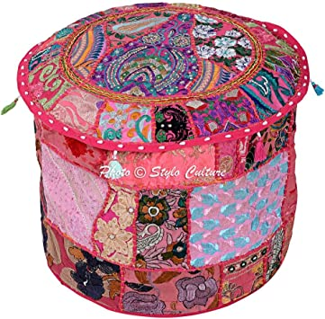 Stylo Culture Cotton Patchwork Embroidered Ottoman Stool Pouf Cover Pouffe Black Floral Indian Living Room Pouf Case Traditional Decor