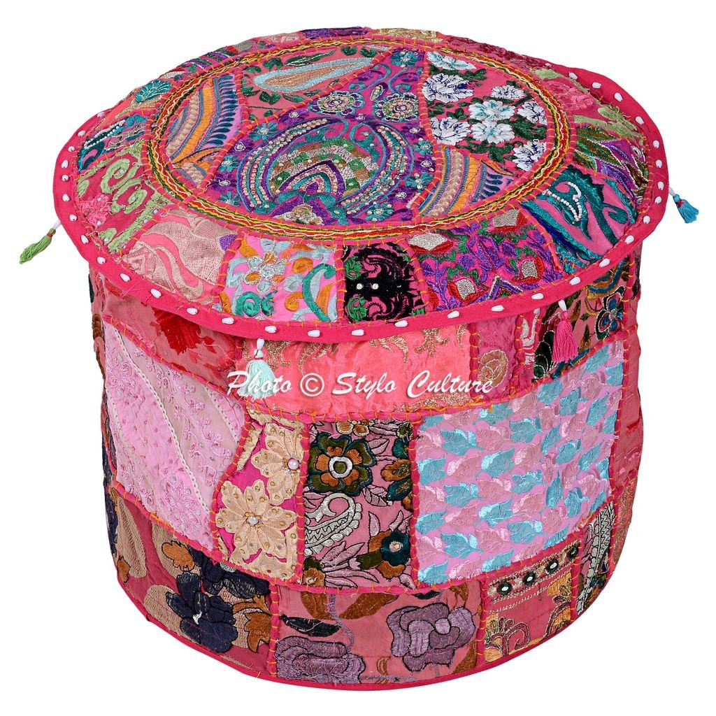 Stylo Culture Indian Round 22'' Cotton Patchwork Embroidered Ottoman Stool Pouf Cover Pink Floral Footstool Ethnic Floor Cushion Cover