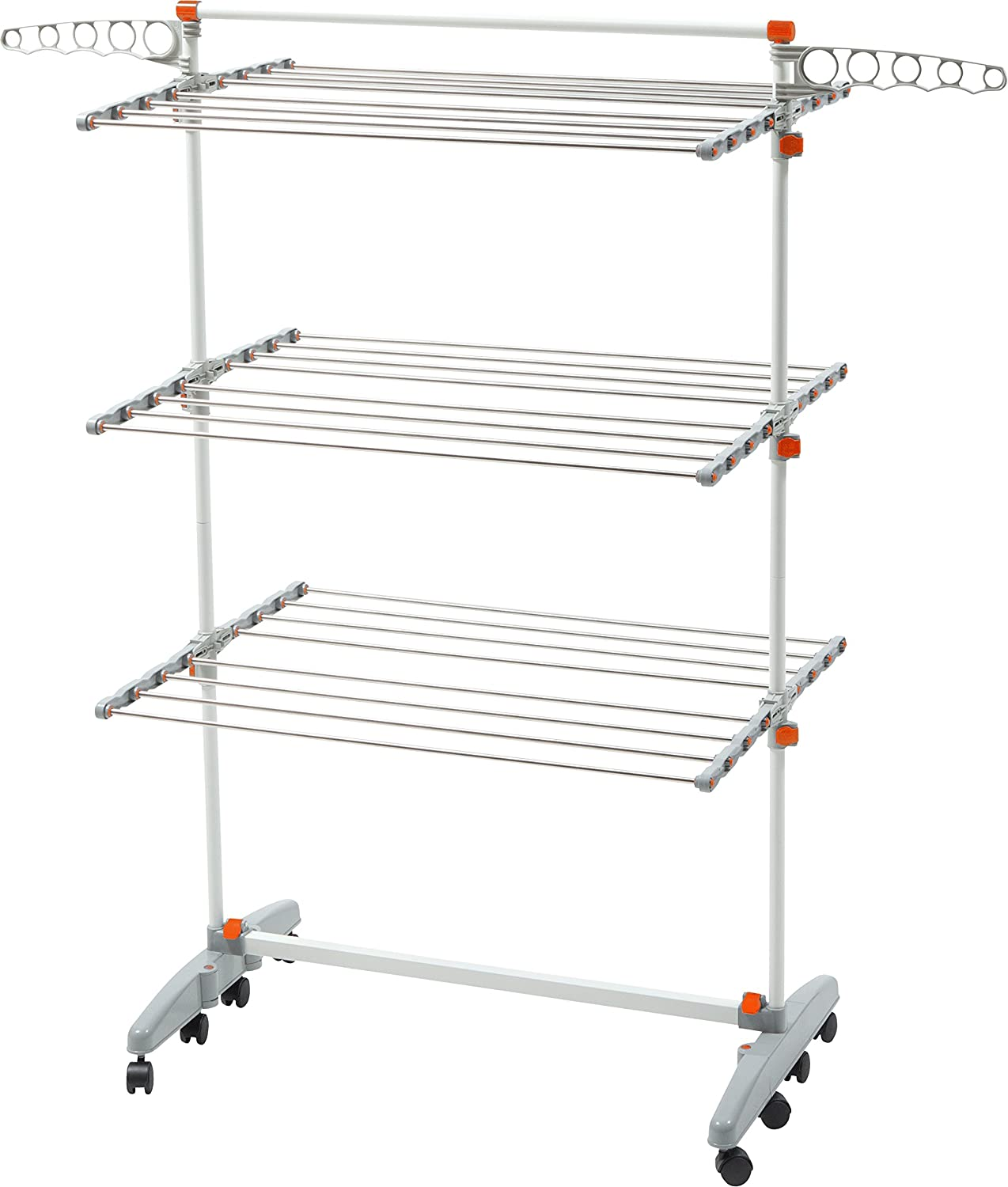 Amazon.com: Idee Premium Quality Foldable Rolling 8 Wheels Clothes Laundry  Drying Rack (Newer Version Of Badoogi BDP V12), Stainless Steel Hanging  Rods, ...