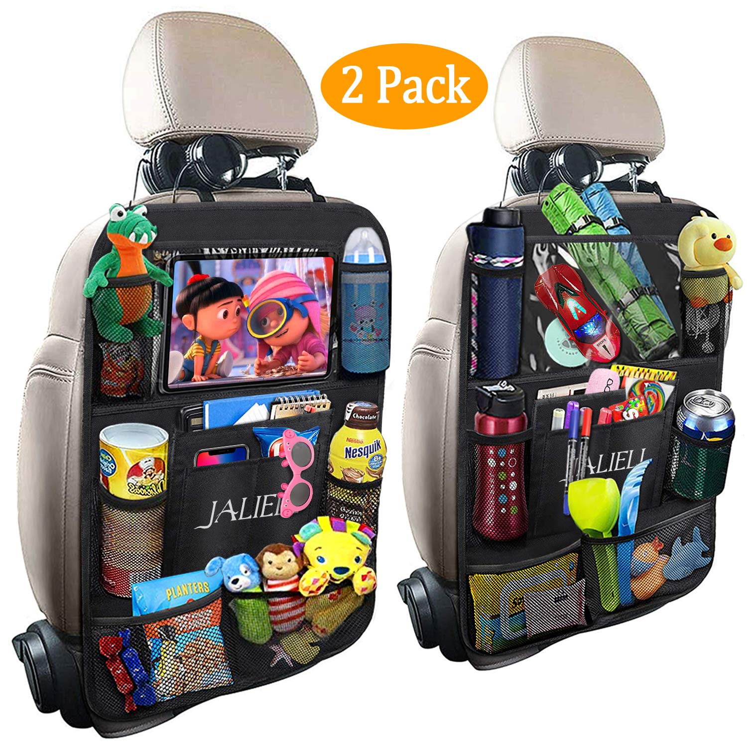 JALIELL Car Back Seat Organizer for Kids Car Organizer Kick Mats with 10'' Touch Screen Tablet Holder + 9 Storage Pockets Car Back Seat Protector Car Travel Accessories for Toddlers Toys (2 Pack) by JALIELL