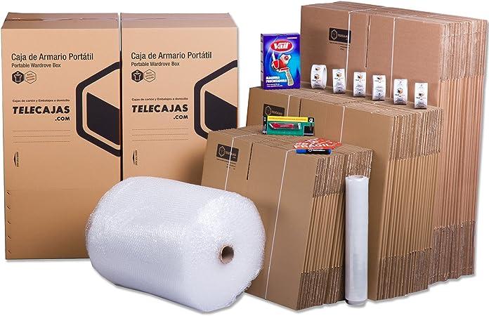 TeleCajas® | Pack Mudanza (Cajas de cartón, plástico Burbujas, precinto, etc) con el Embalaje para una mudanza de casa (Pack MUDANZA SUPERFAMILIAR): Amazon.es: Hogar
