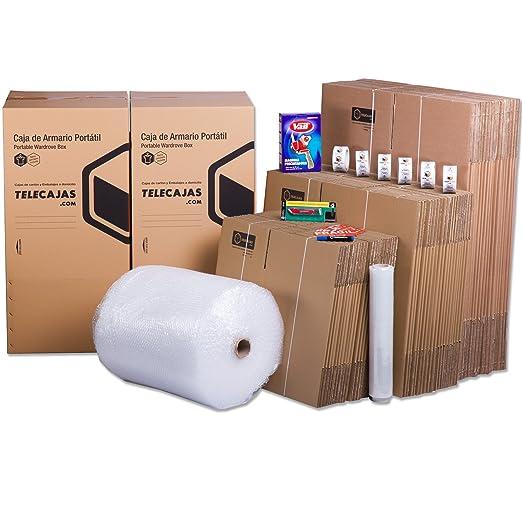 TELECAJAS Pack Mudanza (Cajas de cartón, plástico Burbujas, precinto, etc) con el Embalaje para una mudanza de casa (Pack MUDANZA SUPERFAMILIAR)