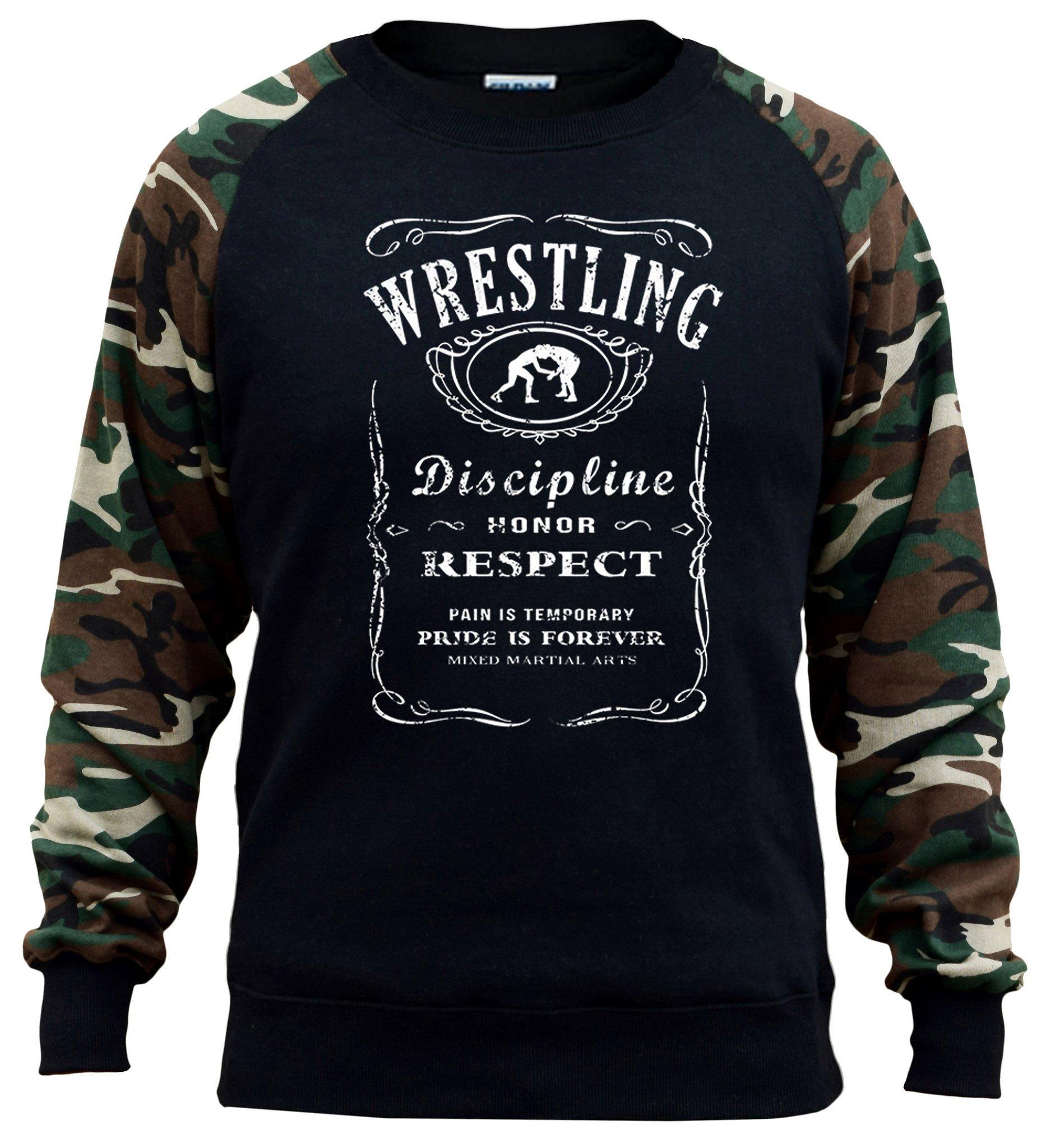 Interstate Apparel Men's MMA Wrestling Whiskey Label Black/Camo Raglan Baseball Sweatshirt Large Black