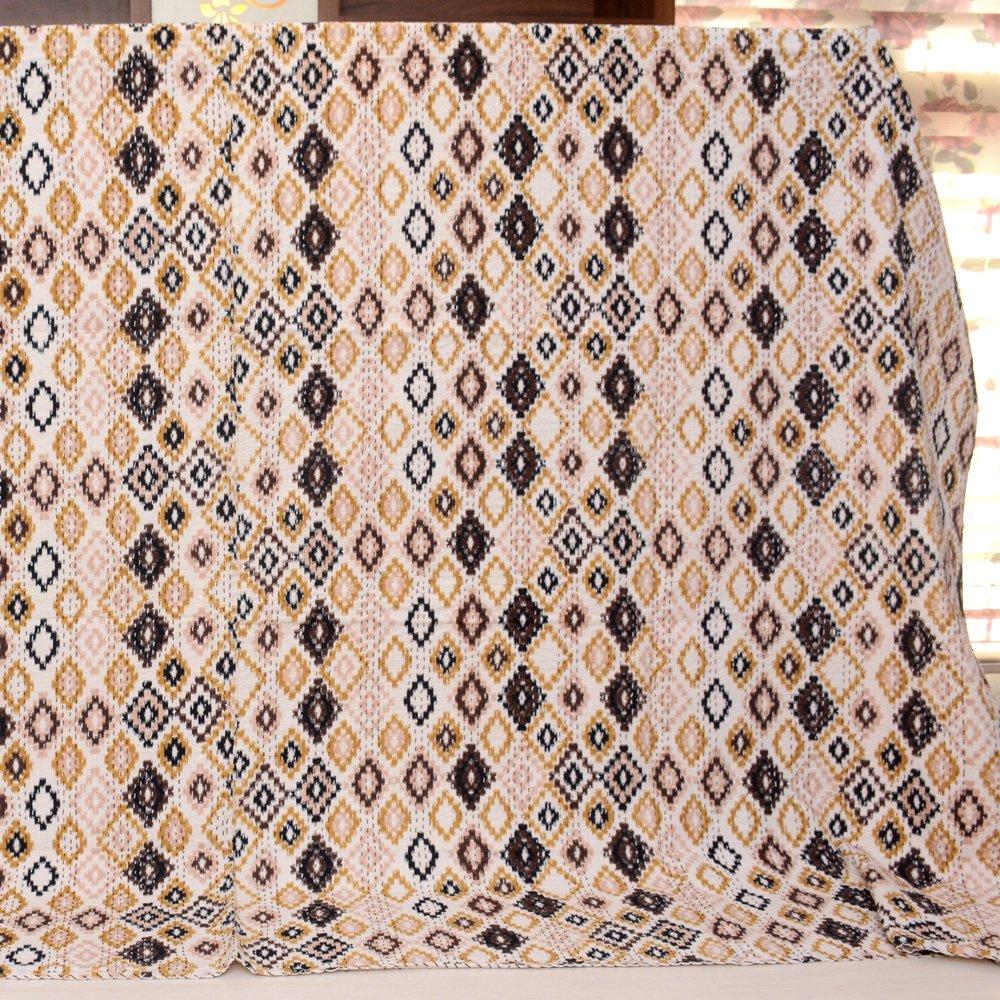 shopolics black-pinkとクリームハンドメイドKantha quilt-4323 Indianキルト、Razai、Jaipuri Razai、毛布、キルト B077WXHF9S