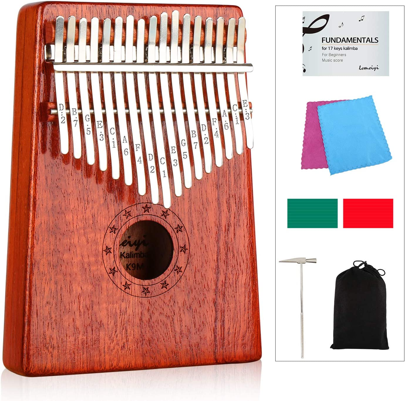LEMEIYI Kalimba 17 Keys Thumb Piano with Study Instruction and Tune Hammer, Portable Mbira Sanza African Wood Finger Piano, Gift for Kids Adult Beginners Professional