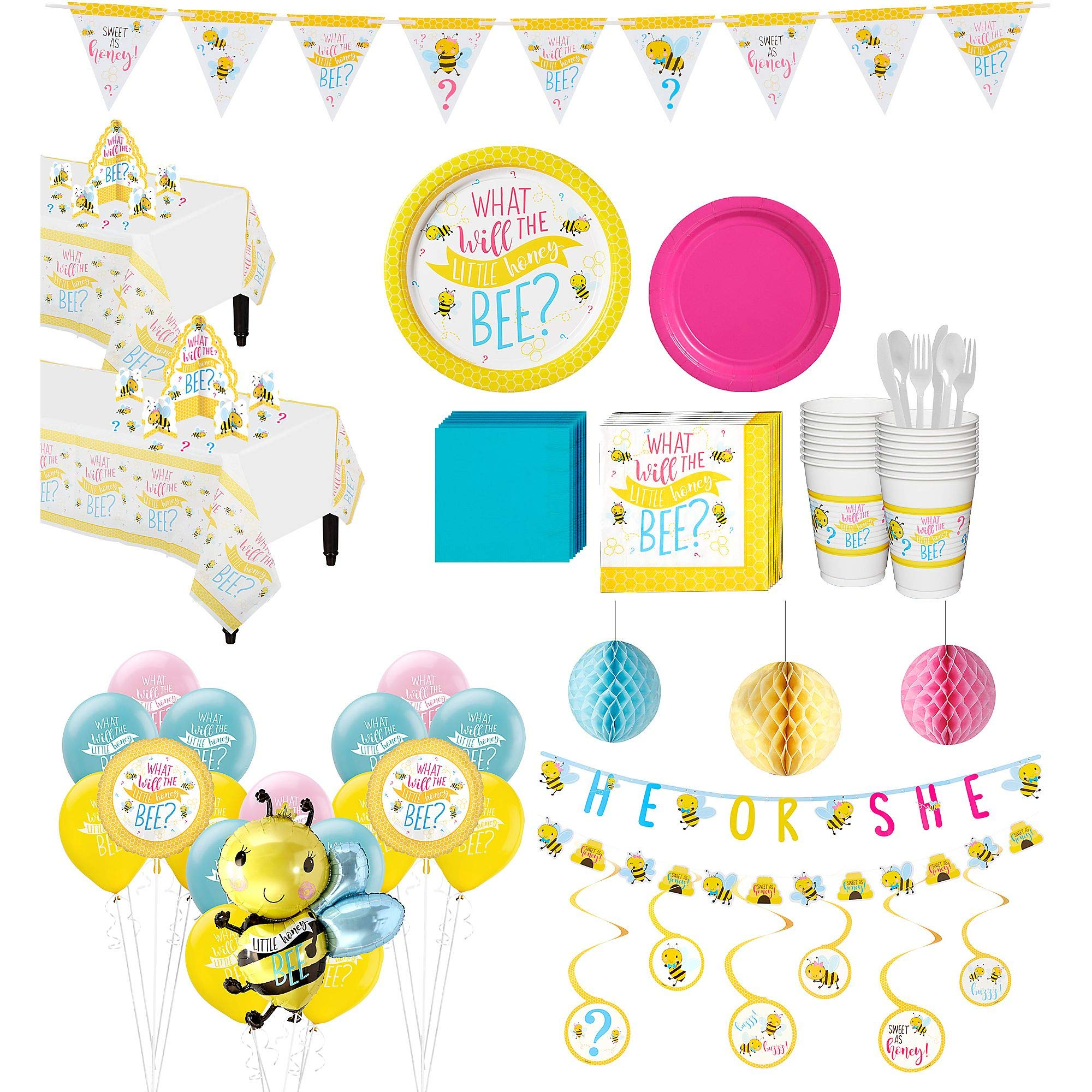 Party City Ultimate Little Honey Bee Gender Reveal Party Kit for 32 Guests, Includes Table Covers, Balloons and Banners