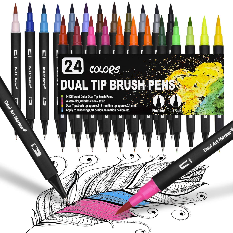 1-2 mm und Fineliner Tinte auf Wasserbasis Doppelfilzstifte F/ür Aquarell Watercolo Bullet Journal Handlettering Kalligraphie Manga 24 Farben Doppelfasermaler Dual Brush Pen Set Fasermaler 0,4 mm