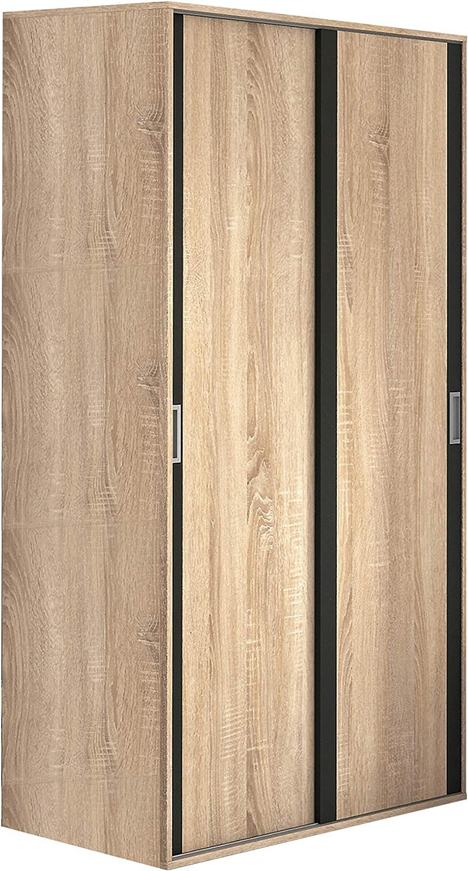 HomeSouth - Armario Dos Puertas correderas Dormitorio habitación, Acabado en Color Grafito y Cambria, Modelo Lara, Medidas: 120 cm (Largo) x 207 cm (Alto) x 55 cm (Fondo)