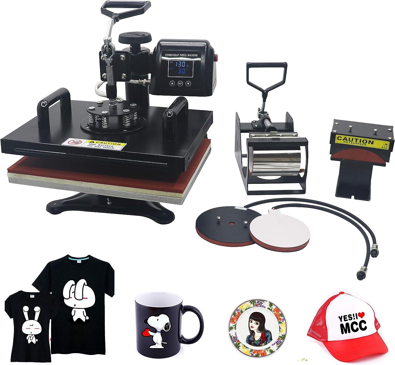Seeutek 5 in 1 Power Heat Press Machine 15 X 15 Professional Swing Away Heat Transfer Digital Sublimation 360-Degree Rotation Multifunction Combo for T-Shirt Mugs Hat Plate Cap