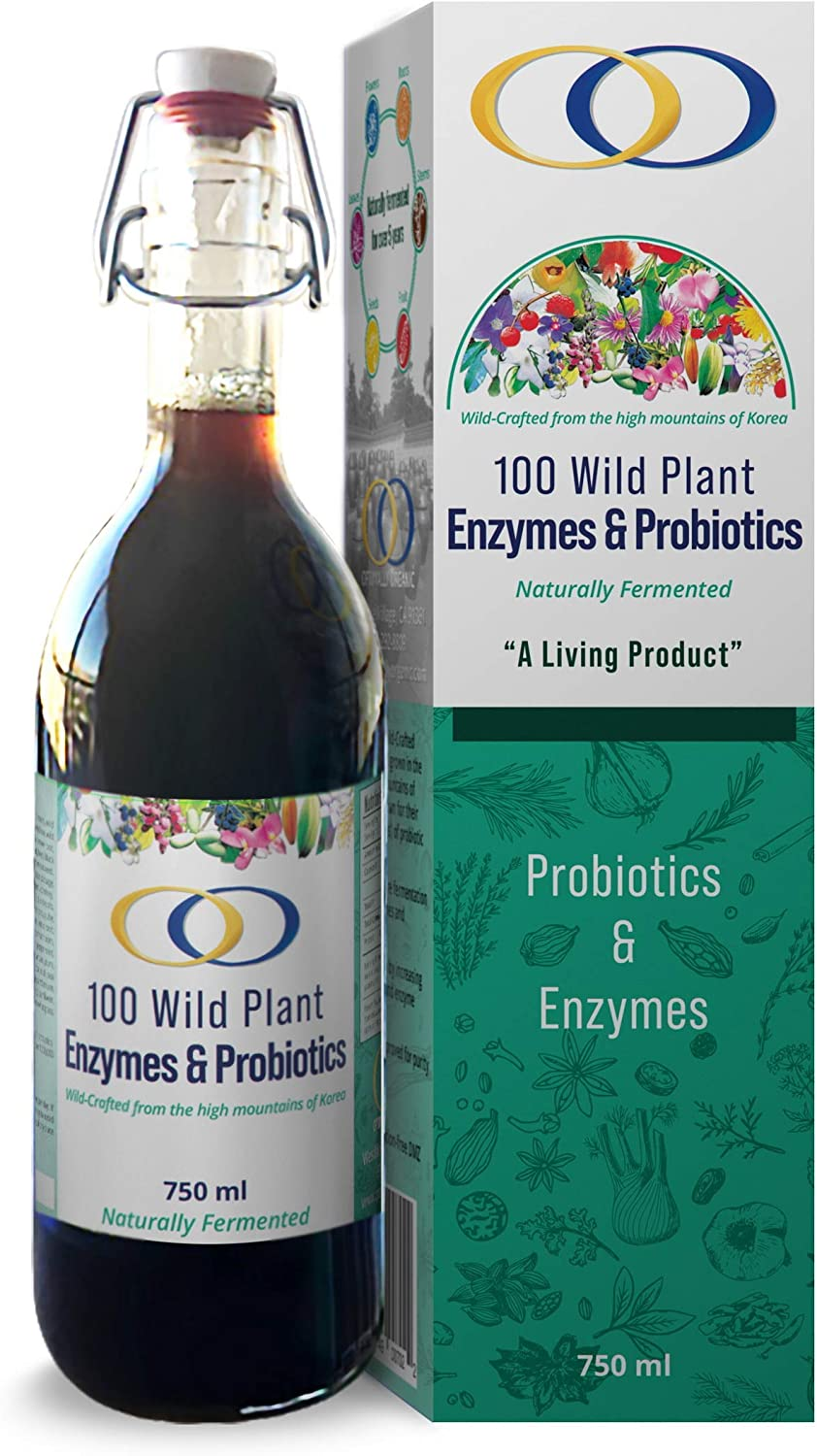 100 Wild Plant Digestive Enzymes & Probiotics - Natural Immune System Booster and Dietary Supplement - 38.8oz