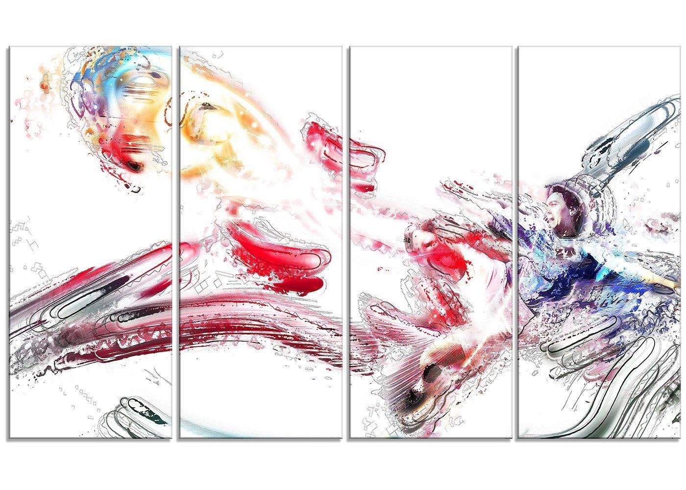 Large Sport Canvas Art 28 H/x/48 W/x/1 D 4P Designart PT2502-271 Soccer Booting The Ball