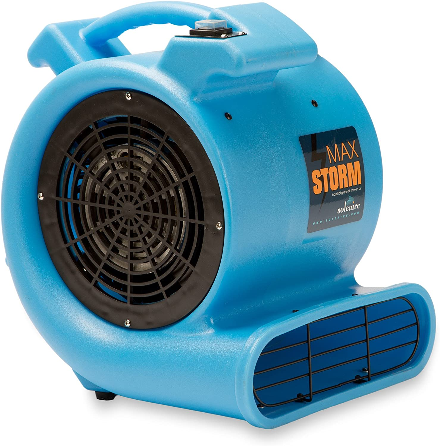 Max Storm 1 2 HP Durable Lightweight Air Mover Carpet Dryer Blower Floor Fan for Pro Janitorial Cleaner, Blue