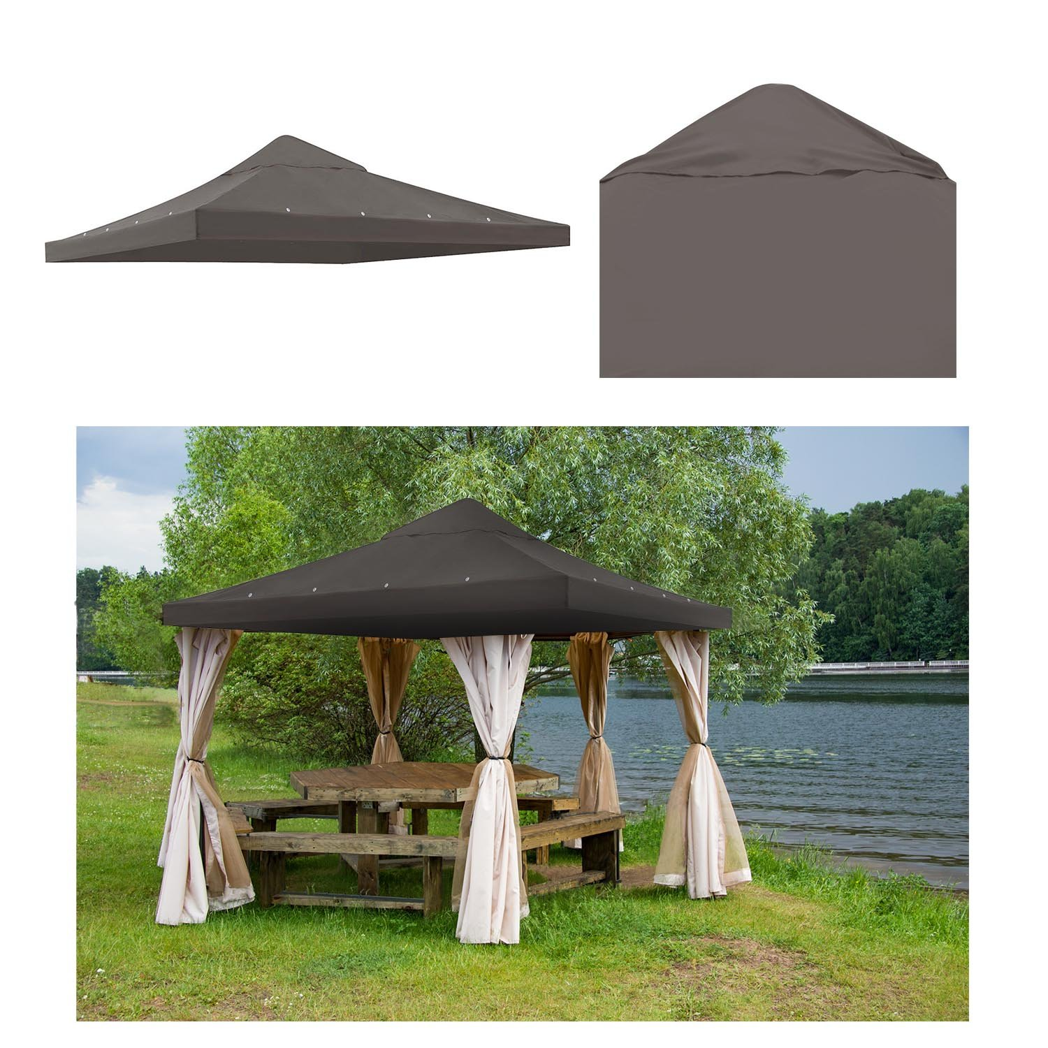 GC Global Direct 10 X 10 ft Patio Gazebo Top Canopy Replacement Color Opt (Coffee)