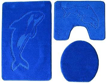 3 Teilig Badgarnitur 100x60cm Dunkelblau Badset Delphin Blau Stand