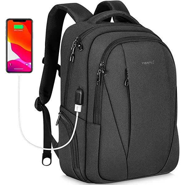 Anti-Theft Unisex Laptop Backpack Business Travel School Bag USB Charge Port GI