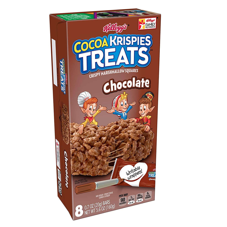 Kellogg's Cocoa Krispies Treats, Crispy Marshmallow Squares, Chocolate, Single Serve, 0.70 oz Bars(8 Count)