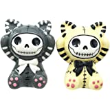 Furrybones Mao Mao Striped Cats Kittens Hooded Skeleton Ceramic Salt Pepper Shakers Set Collectible Figurines Kitchen & Dining Centerpiece