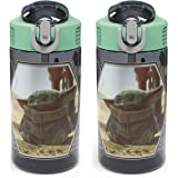 Zak Designs Star Wars The Mandalorian Kids Water Bottle Set with Spout Covers and Built-in Carrying Loops, Made of…