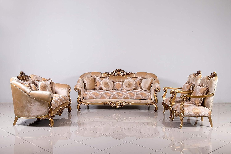 Amazon com european furniture 3 pieces golden knights luxury sofa set kitchen dining