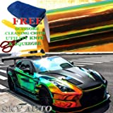 """Sky Auto INC Holographic Rainbow BLACK Neo Chrome Car Vinyl Wrap Sticker Decal Film Sheet Free Air Bubble + Free Cutter, Cleaning cloth, Scissors & Squeegee (12"""" x 54""""/1ft x 4.5ft)"""