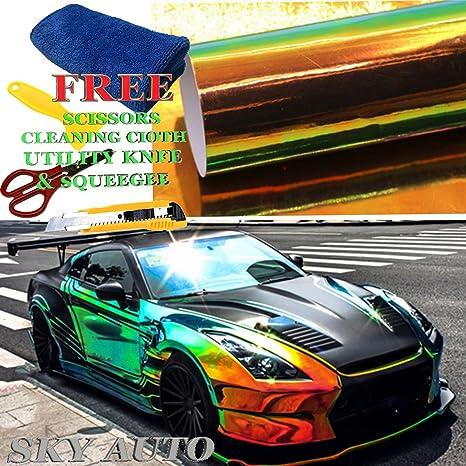 Amazon Com Sky Auto Inc Holographic Rainbow Black Neo Chrome Car