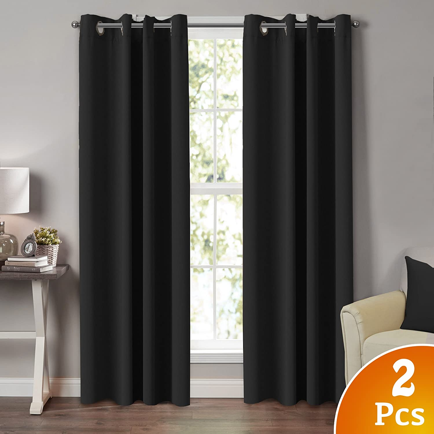 TURQUOIZE 2 Panels Solid Blackout Drapes, Jet Black, Themal Insulated, Grommet/Eyelet Top, Nursery/Living Room Curtains