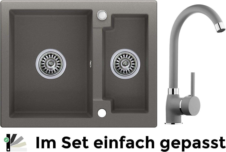 Schrankbreite ab 60 cm Granitsp/üle graphit Drehexcenter 2-Becken Armatur 8000 Siphon Hochdruck K/üchensp/üle Sp/ülbecken