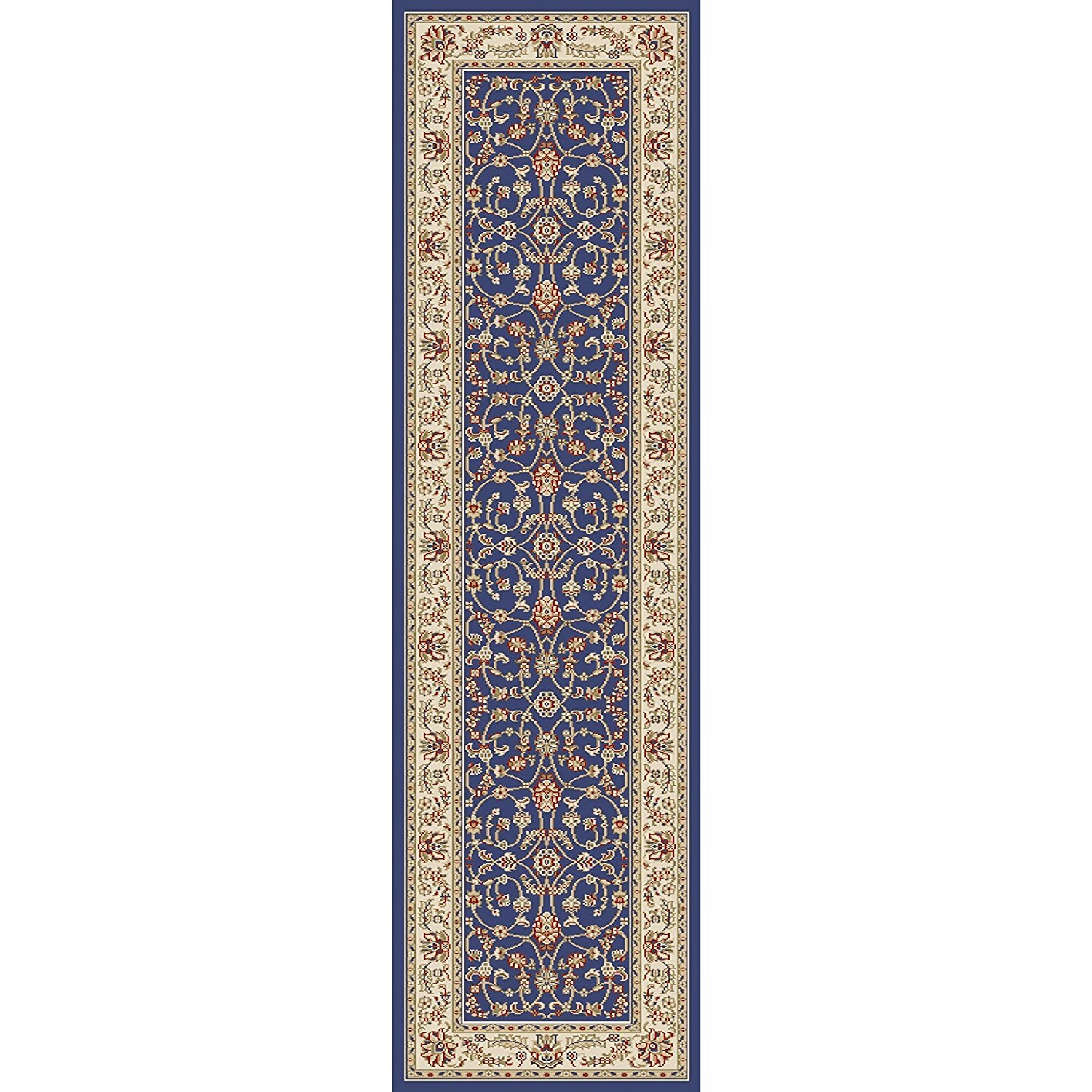 1pc 2'2'' x 7'7'' ft Ivory Blue Navy Orietnal Hallway Rug, Victorian Themed Royal Vintage, Long Floral Carpet Entranceway French Country Classic Pattern Bordered Narrow Flooring Runner, Olefin