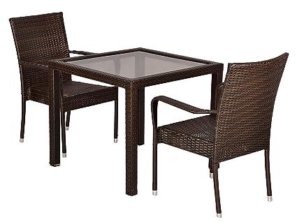 """FurniFutureâ""""¢ Gracia Outdoor Patio Furniture Set 2+1 - (Brown)"""