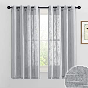 RYB HOME Linen Sheer Curtains Light Airy Semi Sheer Curtain Draperies Privacy Protection for Bedroom Living Room Office Window Decor, 52 inch Wide x 63 inch Long, 1 Pair, Grey