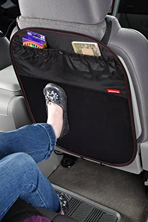 R/ückenlehnenschutz Hochwertig Sitzschutz Schwarz mit gro/ßen Taschen