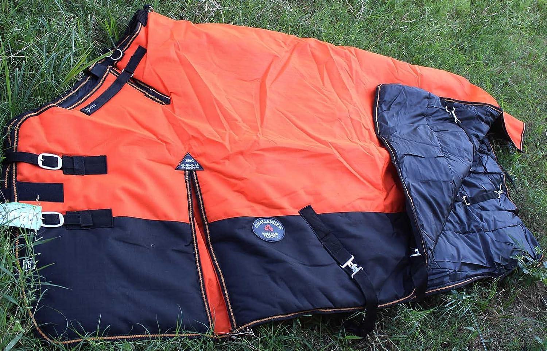 CHALLENGER 1200D Turnout Waterproof Horse Winter Blanket Heavy Weight Orange 522G