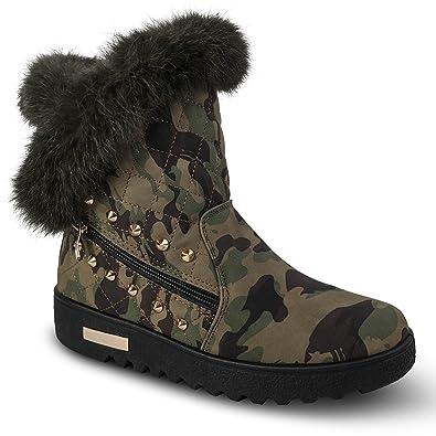 Damen Stiefel warm gef ttert Stiefeletten Boots Winter Schnee Nieten neu ST608