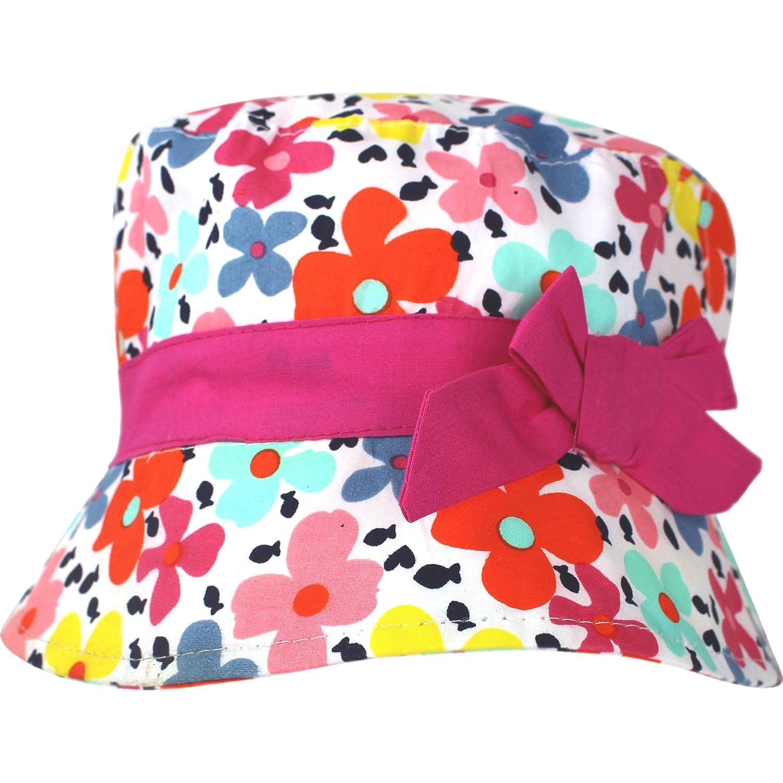 TeddyTs Girls Floral Colourful Flowers /& Bow Summer Sun Beach Hat