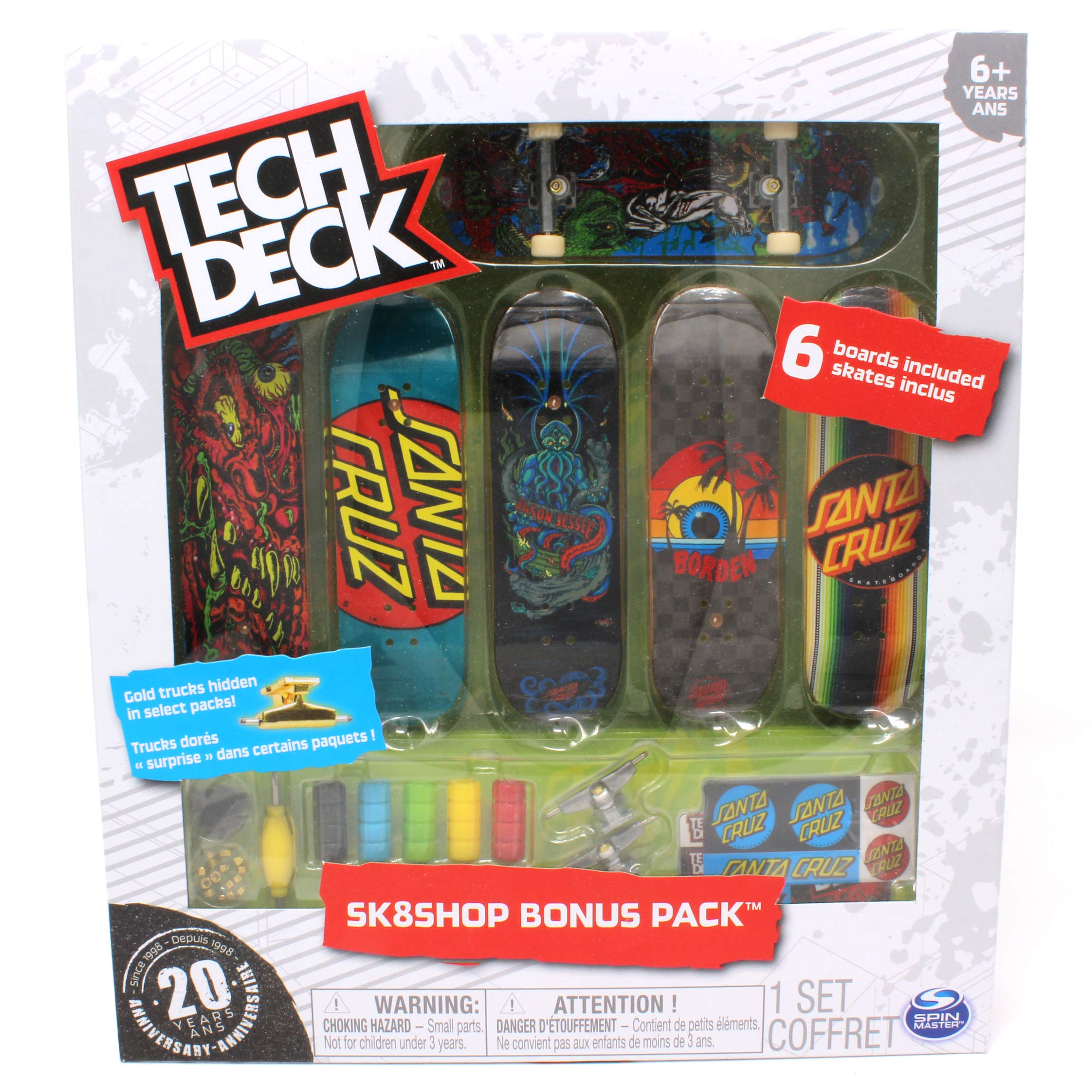 Tech Deck Santa Cruz Skateboarding Sk8shop Bonus Pack with 6 Fingerboards - 20th Anniversary by Tech Deck (Image #2)