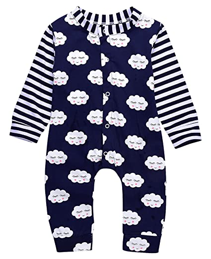 c22ad7e7924 Newborn Baby Girl Floral Printed Romper Outfits Summer Autumn Long sleeve  Bodysuit (70(0