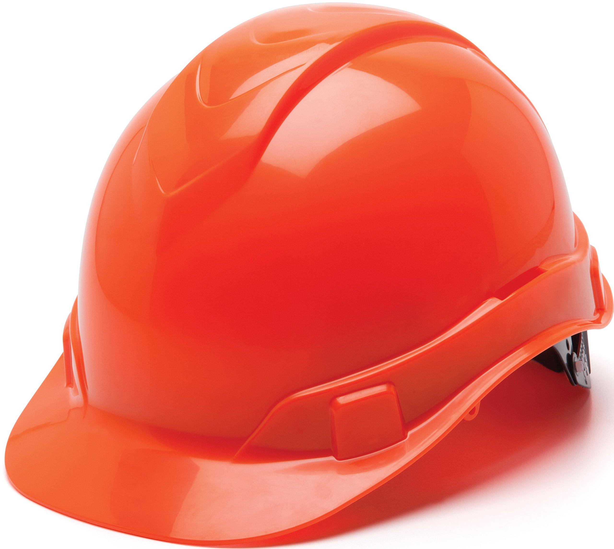 Pyramex Ridgeline Cap Style Hard Hat, 4 Point Ratchet Suspension, Hi Vis Orange