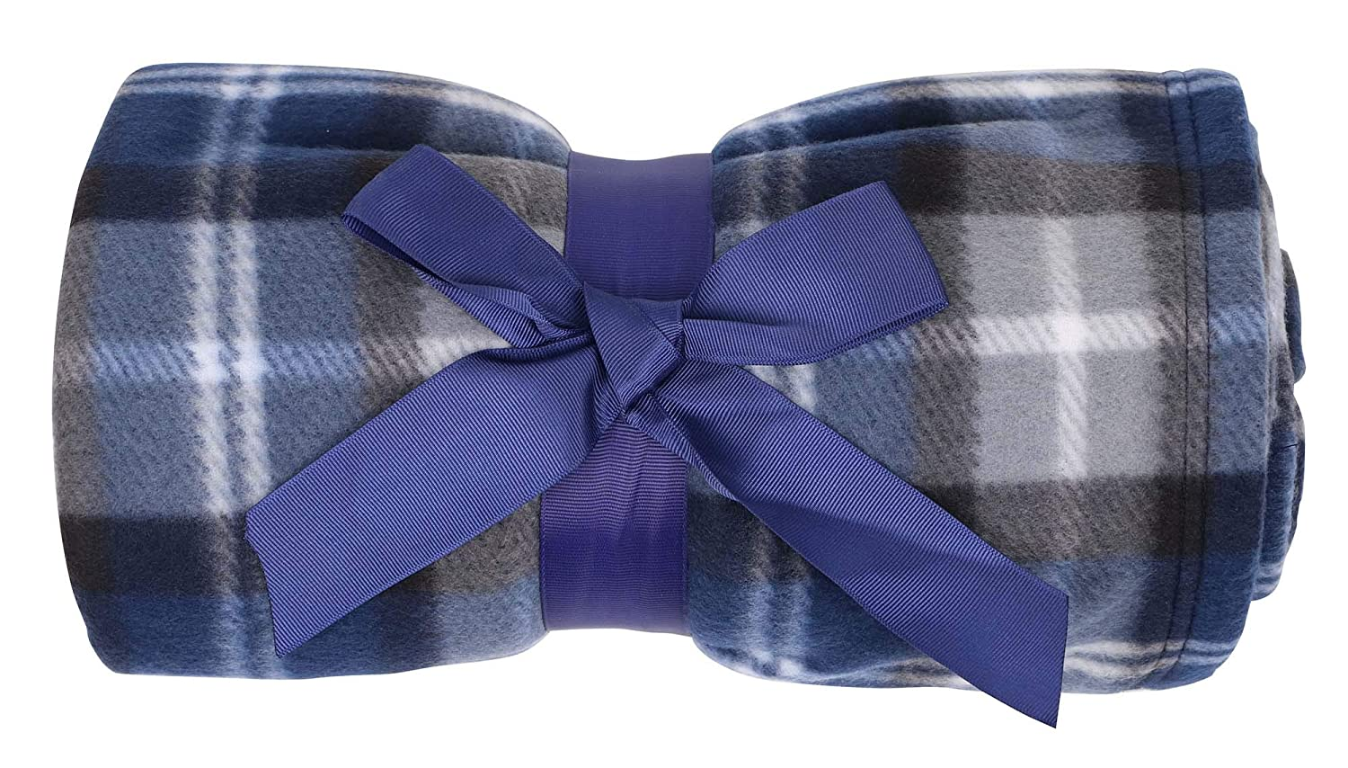 Navy Lullaby Plaid Patterned Soft Warm Polar Fleece Throw Blankets 50  x 60  Navy