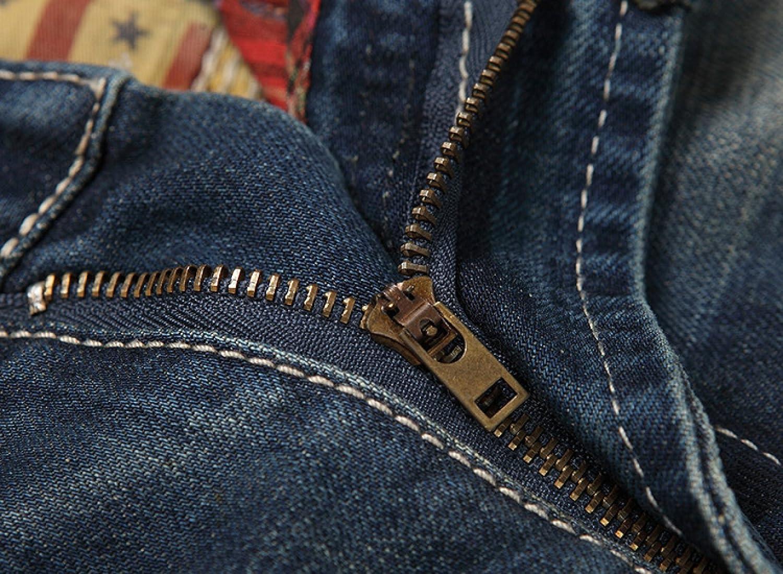 bc924162fe4b CHFYI Männer Mittlere Taille Gerade Slim Fit Jeans Retro Zerrissene Jeans  Ohne Gürtel  Amazon.de  Bekleidung
