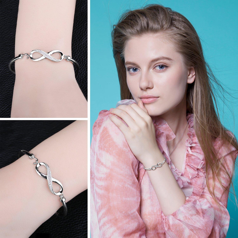 JewelryPalace 0.13ct Magnifique Bracelet Femme Infini Amour en Argent Sterling 925 en Zircon Cubique de Synth/èse