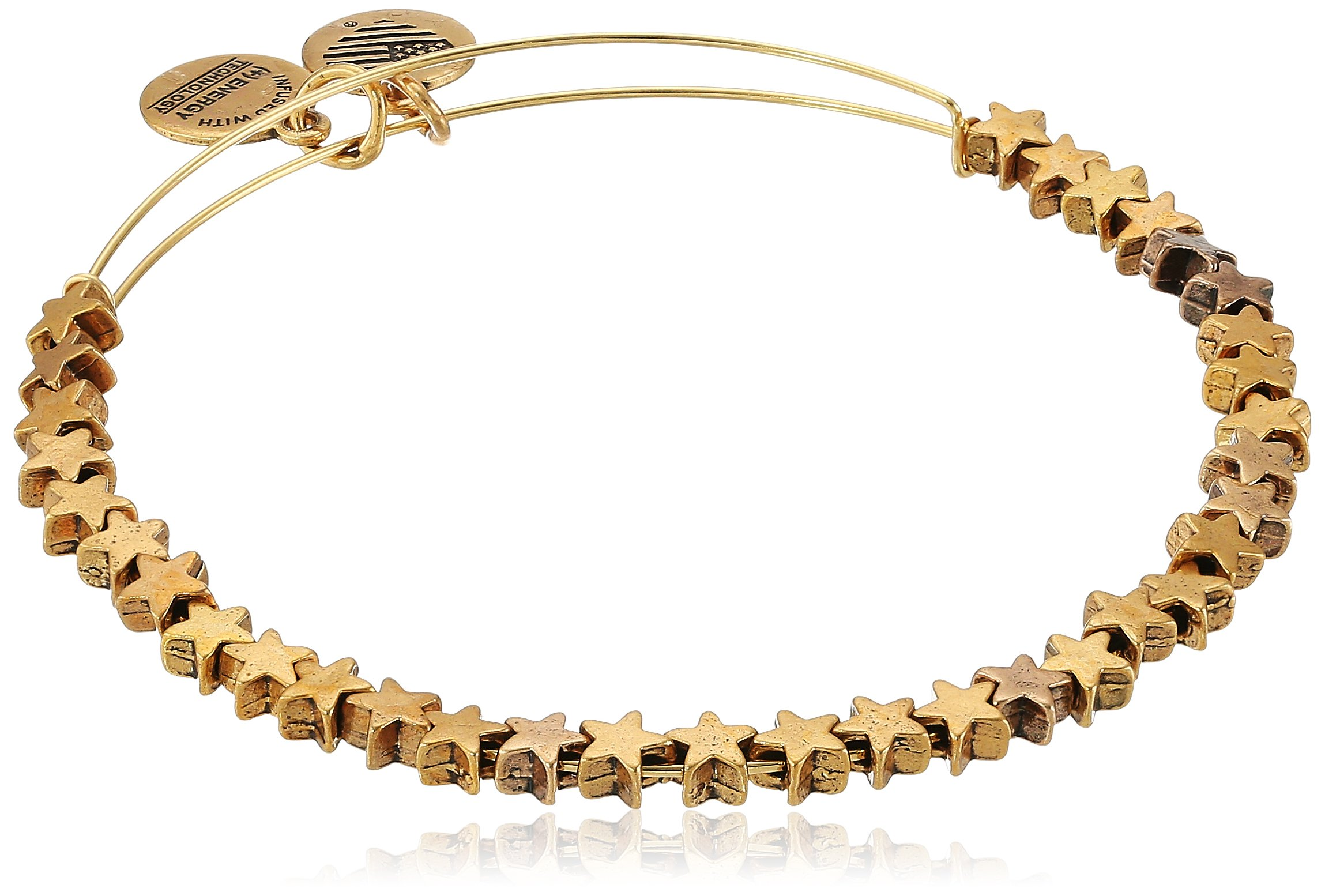 Alex and Ani Star Beaded Rafaelian Gold Bangle Bracelet