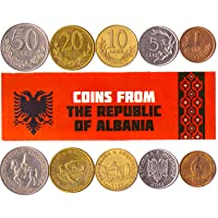Hobby of Kings Different Coins - Old, Collectible Albanian Foreign Currency for Collecting Book - Unique, Commemorative World Money Sets - Gifts for Collectors - Collection of 5