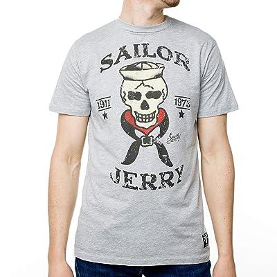 Sailor Jerry Official Skeleton Crew T-Shirt Men's Grey Heather Large   .com